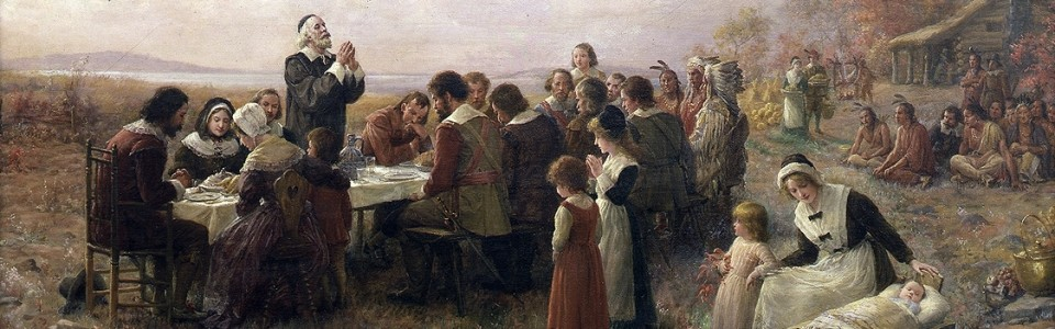 The First Thanksgiving at Plymoth by Jennie Augusta Brownscombe, 1914